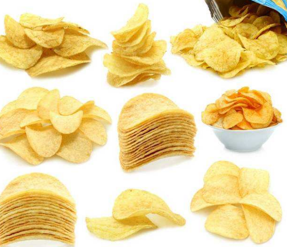 Potato chips produced by mechanical equipment